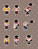 Cartoon Graduate students stickers Stock Image