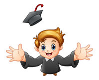 Cartoon graduation boy Royalty Free Stock Photography