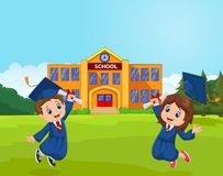 Cartoon Graduation Celebration with school Royalty Free Stock Photo