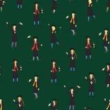 Cartoon Graduation of Happy Students Seamless Pattern Background. Vector royalty free illustration