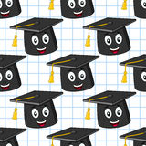 Cartoon Graduation Hat Seamless Pattern Stock Photos