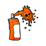 Cartoon graffiti skull spray can Stock Images