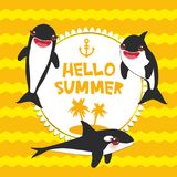Cartoon grampus set. Hello Summer, orca, killer whale, sea wolf Kawaii with pink cheeks and positive smiling on yellow orange wave stock illustration