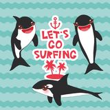 Cartoon grampus set. Lets go surfing, orca, killer whale, sea wolf Kawaii with pink cheeks and positive smiling on blue waves sea. Ocean background. banner Stock Photo