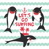 Cartoon grampus set. Lets go surfing, orca, killer whale, sea wolf Kawaii with pink cheeks and positive smiling on blue waves sea. Ocean background. banner Royalty Free Stock Photos