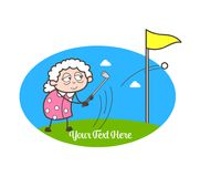 Cartoon Grand Mother Playing Golf Vector Illustration vector illustration