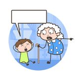 Cartoon Grand Mother Scolding to Her Grandson Vector Illustration. Cartoon Grand Mother Scolding to Her Grandson Vector design Royalty Free Stock Photo