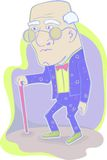 Cartoon grandfather. With cane.Illustration royalty free illustration
