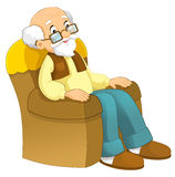 Cartoon grandfather sitting in the chair Royalty Free Stock Photos