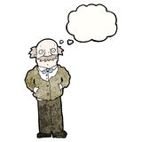 Cartoon grandfather with thought bubble Royalty Free Stock Photos