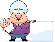 Cartoon Grandma Baby and Sign Royalty Free Stock Photos