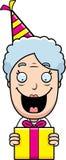 Cartoon Grandma Birthday Present Royalty Free Stock Images