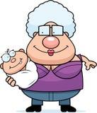 Cartoon Grandma Holding Baby Stock Photo