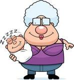 Cartoon Grandma with Sleeping Baby Stock Photos