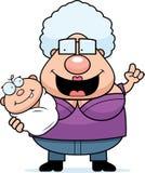 Cartoon Grandma Talking to Baby Stock Photo