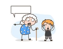Cartoon Grandma Threatening to Her Grand Child Vector Illustration. Cartoon Grandma Threatening to Her Grand Child Vector design Royalty Free Stock Images