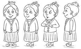 Cartoon grandmother. Grandmother cartoon character in different poses Royalty Free Stock Photos