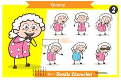 Cartoon Grandmother Character Different Poses and Face Expressions Vector Set. Cartoon Grandmother Character Different Poses and Face Expressions Vector Design Royalty Free Stock Image