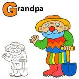 Cartoon Grandpa. Coloring book page. Colours game vector illustration stock illustration