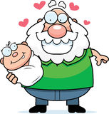 Cartoon Grandpa Loving a Baby Royalty Free Stock Photography