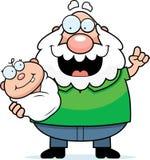 Cartoon Grandpa Talking to Baby Stock Photo