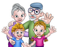 Cartoon Grandparents and Children Royalty Free Stock Image