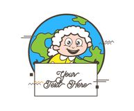 Cartoon Granny with Blank Banner Isolated on Earth Background Vector Illustration Stock Photos