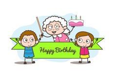 Cartoon Granny Celebrating  Birthday with Grand Children Vector Illustration. Cartoon Granny Celebrating  Birthday with Grand Children Vector design Stock Photography
