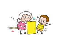 Cartoon Granny with Grandson and Message Banner Vector Illustration. Cartoon Granny with Grandson and Message Banner Vector design Stock Photos