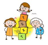 Cartoon Granny with Kids Playing Blocks Game Vector Illustration stock illustration