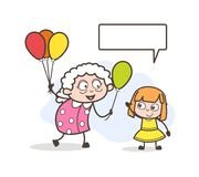 Cartoon Granny Playing with Orphanage Child Vector Illustration Royalty Free Stock Photo