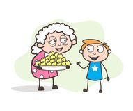 Cartoon Granny Presenting Easter Sweets to Her Grandson Vector Illustration Royalty Free Stock Photo