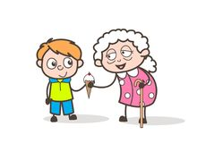Cartoon Granny with Presenting Ice cream to Her Grandson Vector Illustration Stock Images