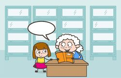 Cartoon Granny Telling Lullaby to Her Granddaughter Vector Illustration Stock Photo