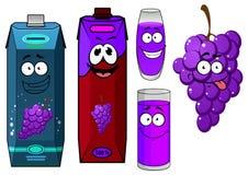 Cartoon grape bunch and juice packs Royalty Free Stock Image