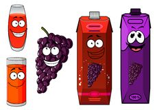 Cartoon grape juice, glasses and fruit characters Stock Photography