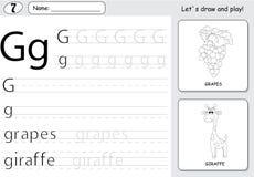 Cartoon grapes and giraffe. Alphabet tracing worksheet: writing Stock Photo