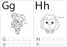 Cartoon grapes and hedgehog. Alphabet tracing worksheet: writing royalty free illustration