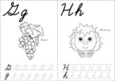 Cartoon grapes and hedgehog. Alphabet tracing worksheet: writing Royalty Free Stock Images