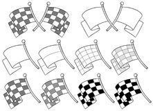 Cartoon graphic crossed racing flag vector set. Cartoon graphic black and white crossed racing flag with stick on white background vector set Stock Photos