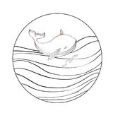 Cartoon graphic line art whale swimming on decorative. Waves, vector round frame isolated on white background, doodle animal, Character design for greeting card Stock Photos