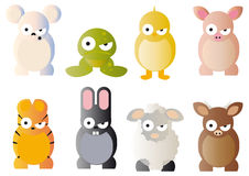 Cartoon graphics of animals. Cute cartoon graphics of various animals including a sheep, tiger, frog, and chick, mouse, cat Stock Photography