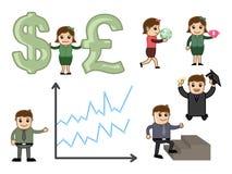 Cartoon Graphics for Business Concepts. Cartoon Business Economy Conceptual Graphics Vector Illustration Set vector illustration