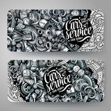 Cartoon graphics vector hand drawn doodles automotive banners. Cartoon graphics vector hand drawn doodles automotive corporate identity. 2 horizontal banners Royalty Free Stock Photography