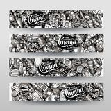 Cartoon graphics vector hand drawn doodles cinema corporate identity. 4 horizontal banners design. Templates set Stock Image