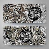 Cartoon graphics vector hand drawn doodles Classic Music horizontal banners. Cartoon graphics vector hand drawn doodles Classic Music corporate identity. 2 Royalty Free Stock Images