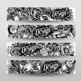 Cartoon graphics vector hand drawn doodles Designer corporate identity. 4 horizontal banners design. Templates set Stock Images