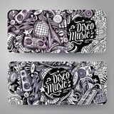 Cartoon graphics vector hand drawn doodles Disco Music horizontal banners. Cartoon graphics vector hand drawn doodles Disco Music corporate identity. 2 Stock Photo