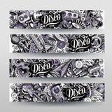 Cartoon graphics vector hand drawn doodles Disco Music horizontal banners Stock Photos