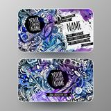 Cartoon graphics watercolor vector hand drawn doodles Disco music id cards design Stock Photo
